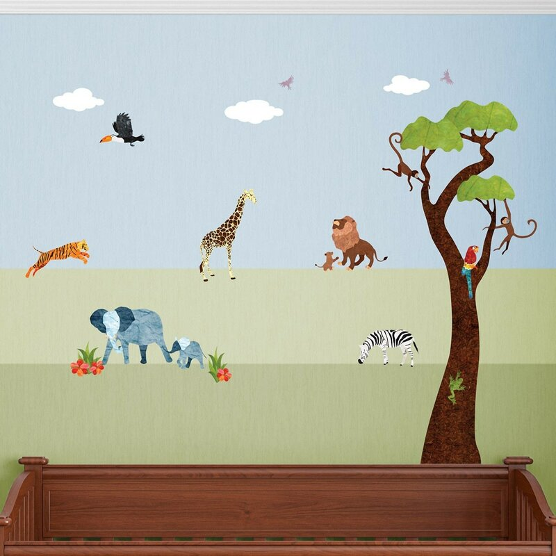 my wonderful walls jungle safari peel and stick wall decal | wayfair