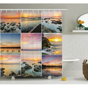 Nautical Ocean at Sea Sunset Shower Curtain + Hooks