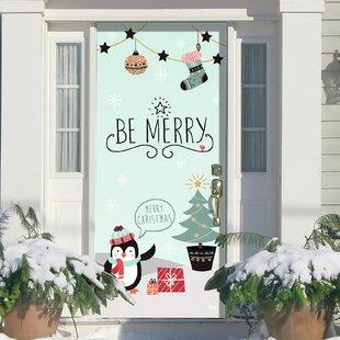 Merry Penguins Christmas Garage Front Door Mural