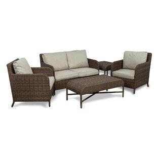 Bavis 5 Piece Rattan Conversation Set with Cushions