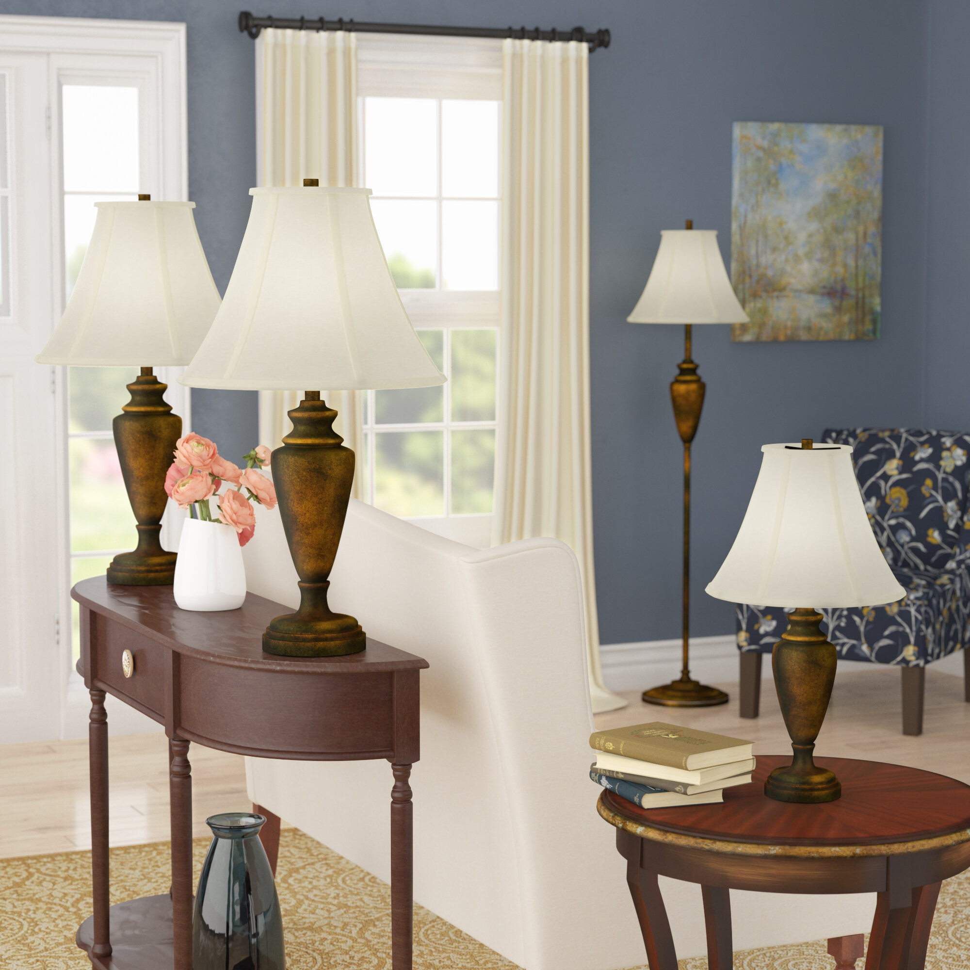 & Alcott Hill Paulson 4 Piece Table and Floor Lamp Set u0026 Reviews | Wayfair