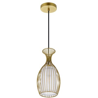 1 Light Calandre 1 Light Black Pendant Wrought Studio Finish Brass