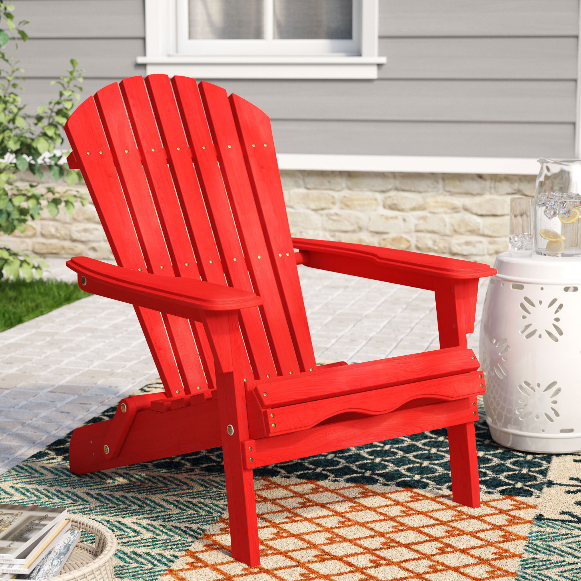Awe Inspiring Cuyler Solid Wood Folding Adirondack Chair Squirreltailoven Fun Painted Chair Ideas Images Squirreltailovenorg