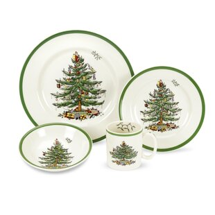 Christmas Tree 4 Piece Place Setting, Service For 1