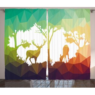 Deers Wildlife Decor Room Darkening Rod Pocket Curtain Panels (Set of 2) by East Urban Home
