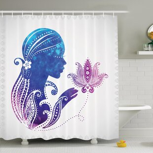 Lady with Floral Hair Art Shower Curtain Set by Ambesonne