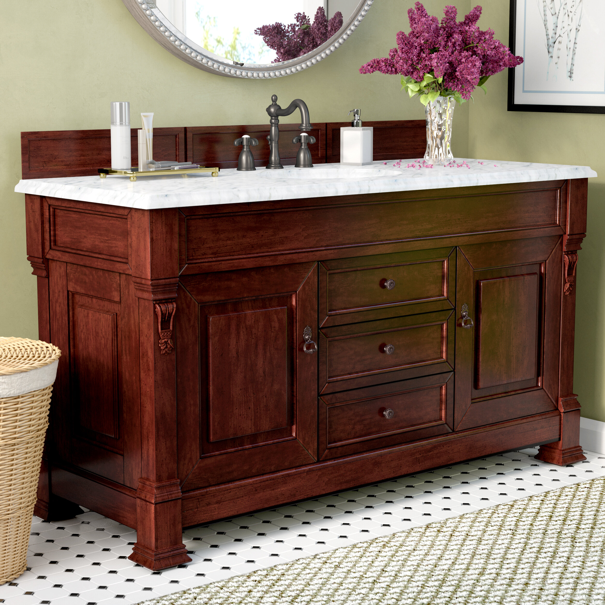 Darby Home Co Penelope 60 Single Burnished Mahogany Bathroom Vanity Set With Drawers Reviews Wayfair