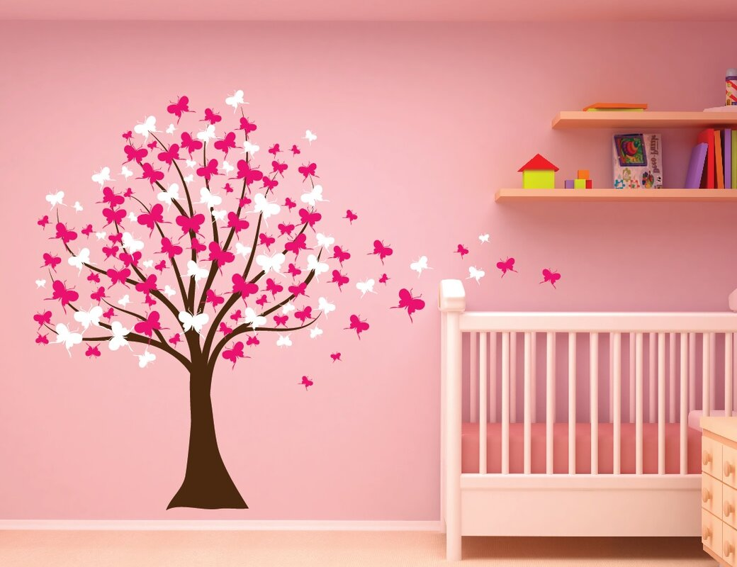 Innovative stencils butterfly cherry blossom tree baby nursery butterfly cherry blossom tree baby nursery wall decal amipublicfo Image collections