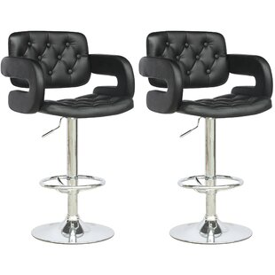 Wade Logan Fohoren Adjustable Height Swivel Bar Stool (Set of 2)