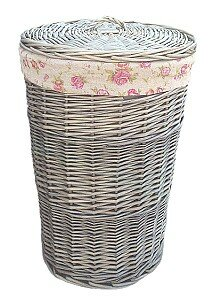 Wicker Laundry Bin  With Garden Rose Lining By Lily Manor