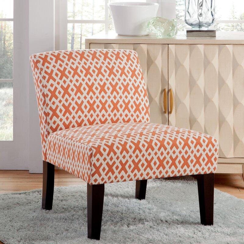 Hurlbert Orange Lattice Armless Slipper Chair