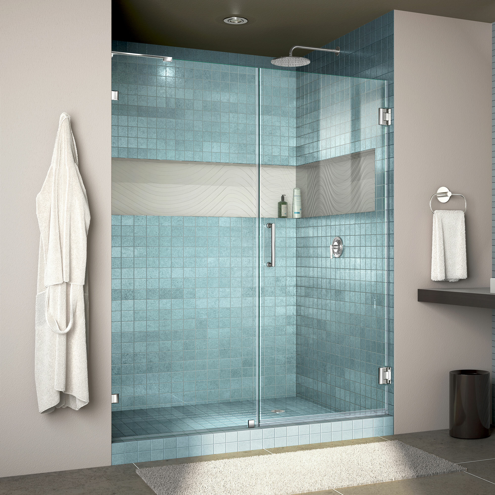 Dreamline Unidoor Lux 54 W X 72 H Hinged Frameless Shower Door With Clearmax Technology Wayfair