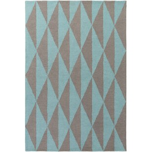 Compare & Buy Yowell Hand-Crafted Charcoal/Teal Area Rug By George Oliver