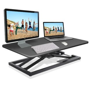 Hymes Computer Desk/Monitor Height Adjustable Standing Desk Converter by Symple Stuff 2019 Sale