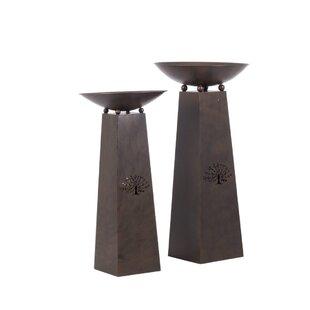 Hiro 2 Piece Cast Iron Wood Burning Fire Column Set By World Menagerie