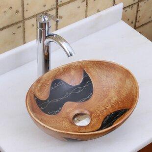 Elimaxs Elite Ceramic Oval Vessel Bathroom Sink