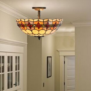 Paule Tiffany Style Stained Glass Geometric Rosette 2-Light Semi Flush Mount by Astoria Grand