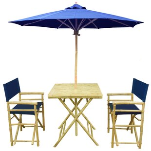 Sinta Bamboo 3 Piece Bistro Set with Umbr..