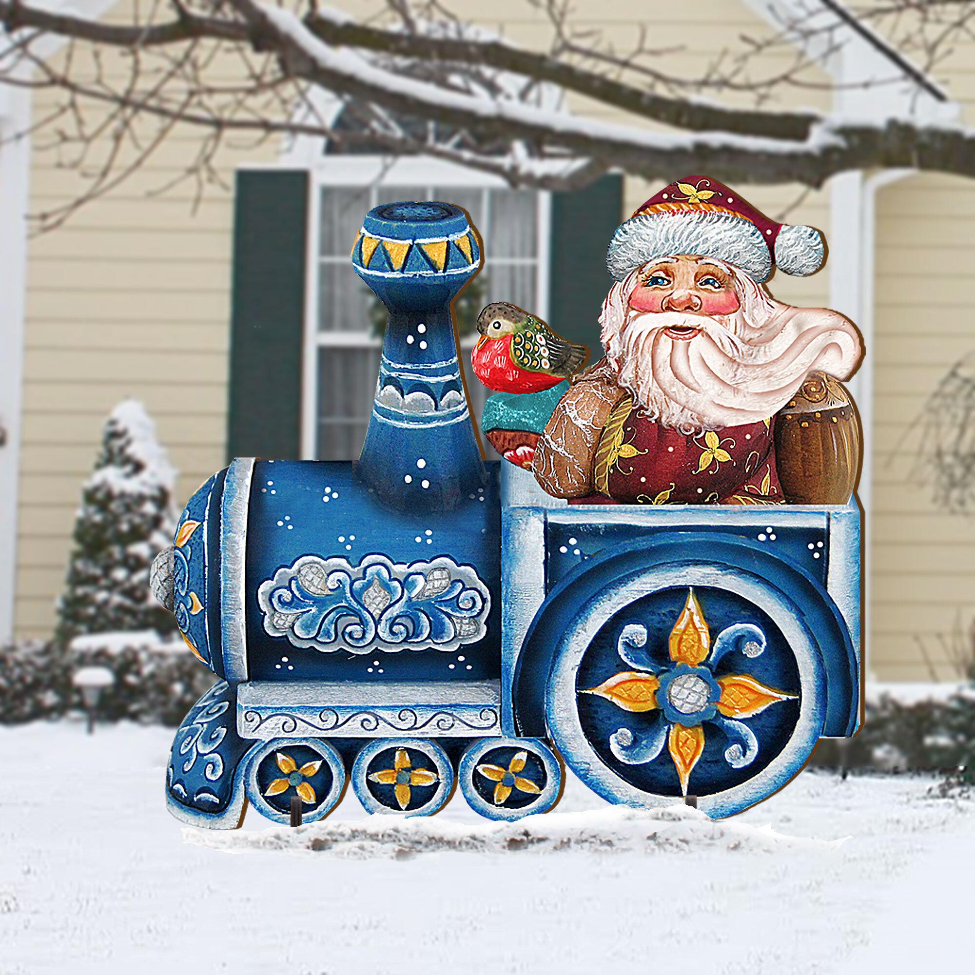 The Holiday Aisle Train Ride Santa Lawn Art Wayfair