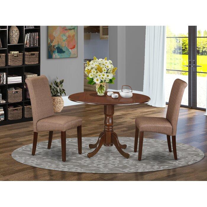 Pappalardo Small Table 3 Piece Drop Leaf Solid Wood Breakfast Nook Dining  Set