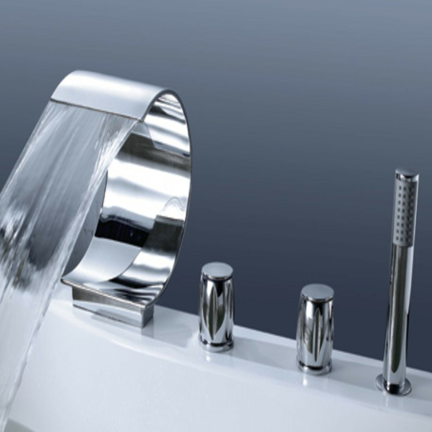 Ribbon Triple Handle Deck Mounted Roman Tub Faucet With Hand Shower
