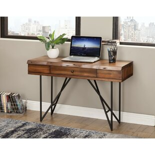 Brammer One Drawer Pointed Metal Legs Acacia Wood Desk by Williston Forge