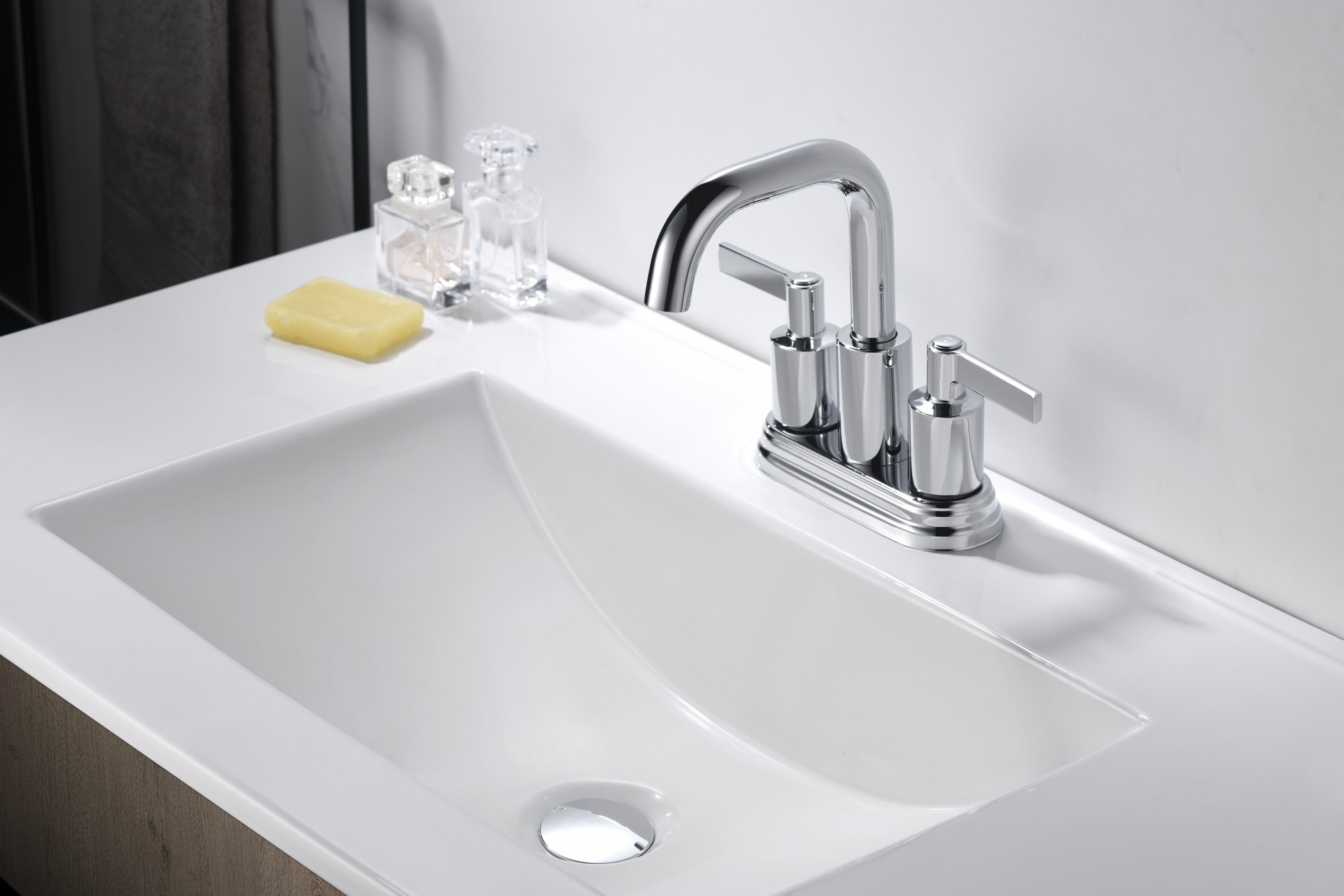 Ultra Faucets Kree Two-Handle Centerset Bathroom Faucet With Drain