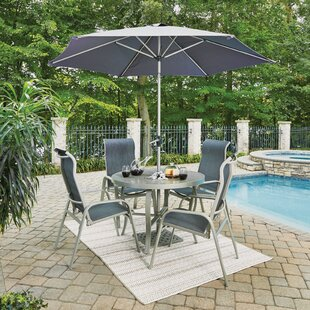Dinan Outdoor 5 Piece Dining Set with Umbrella by Red Barrel Studio