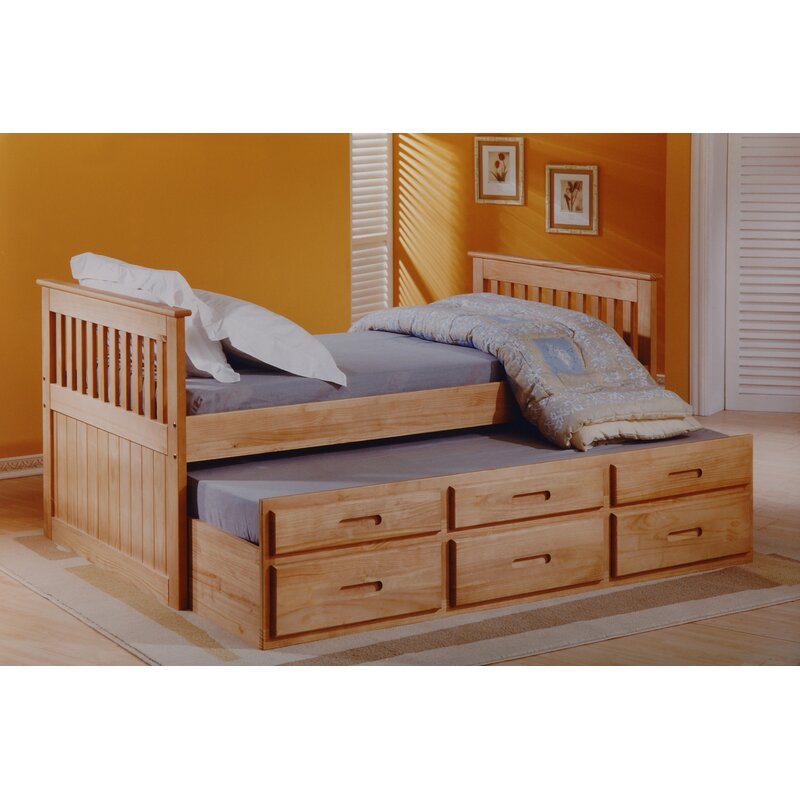 Captains Single Bed Frame With Trundle And Storage