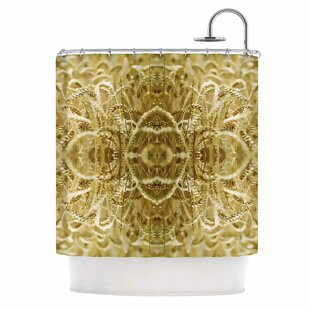 'Cornfield Pattern,Ocker Gold' Single Shower Curtain