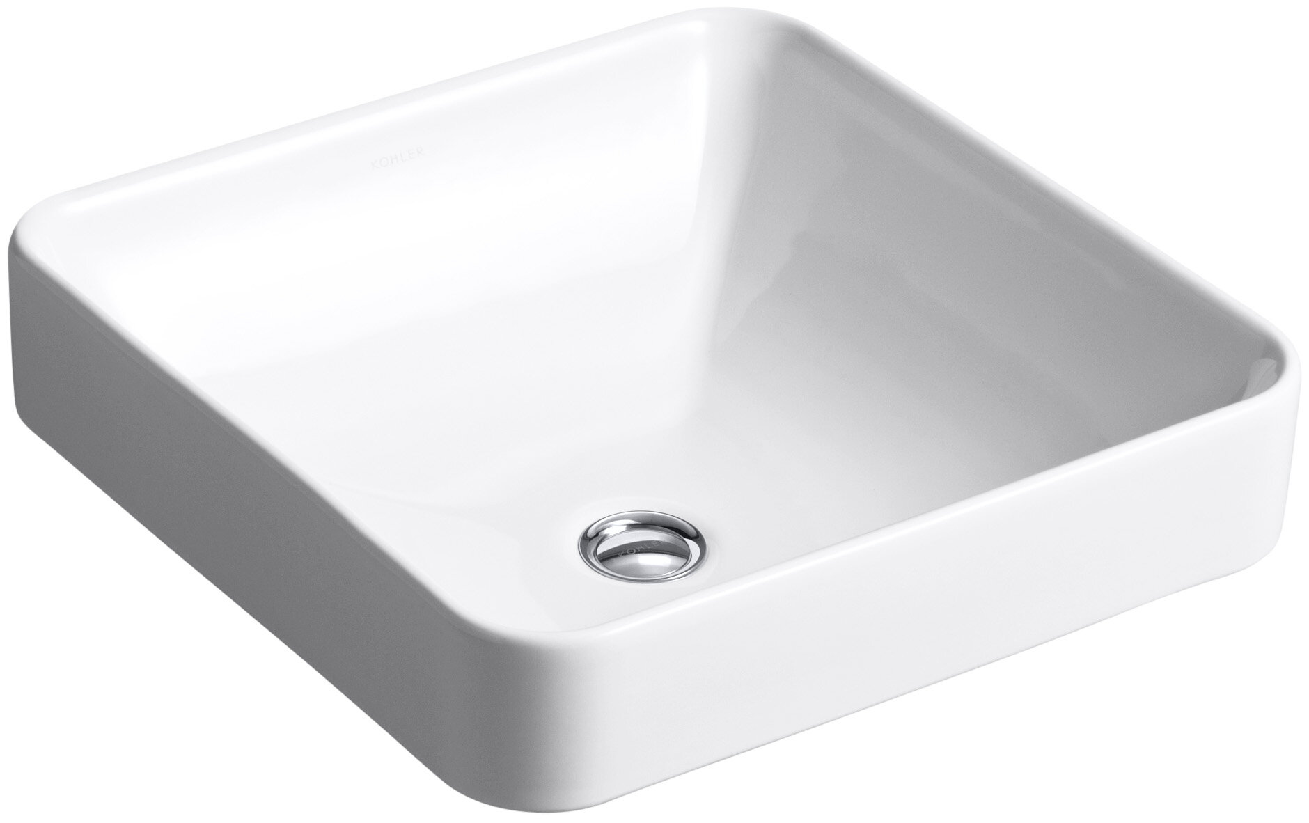 Vox ceramic square vessel bathroom sink with overflow reviews allmodern