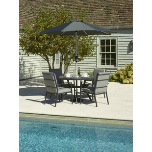 Johnsie 4 Seater Dining Set With Cushion And Parasol By Sol 72 Outdoor