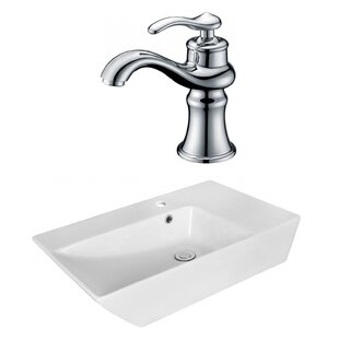 Compare Above Counter Ceramic Rectangular Vessel Bathroom Sink with Faucet and Overflow By Royal Purple Bath Kitchen