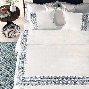 Saskia Embroidered Cotton 3 Piece Duvet Cover Set
