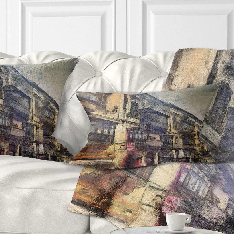 East Urban Home Cityscape Old City Street Watercolor Painting Lumbar Pillow Wayfair