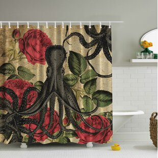 Best Price Vintage Octopus Roses Print Shower Curtain By Ambesonne