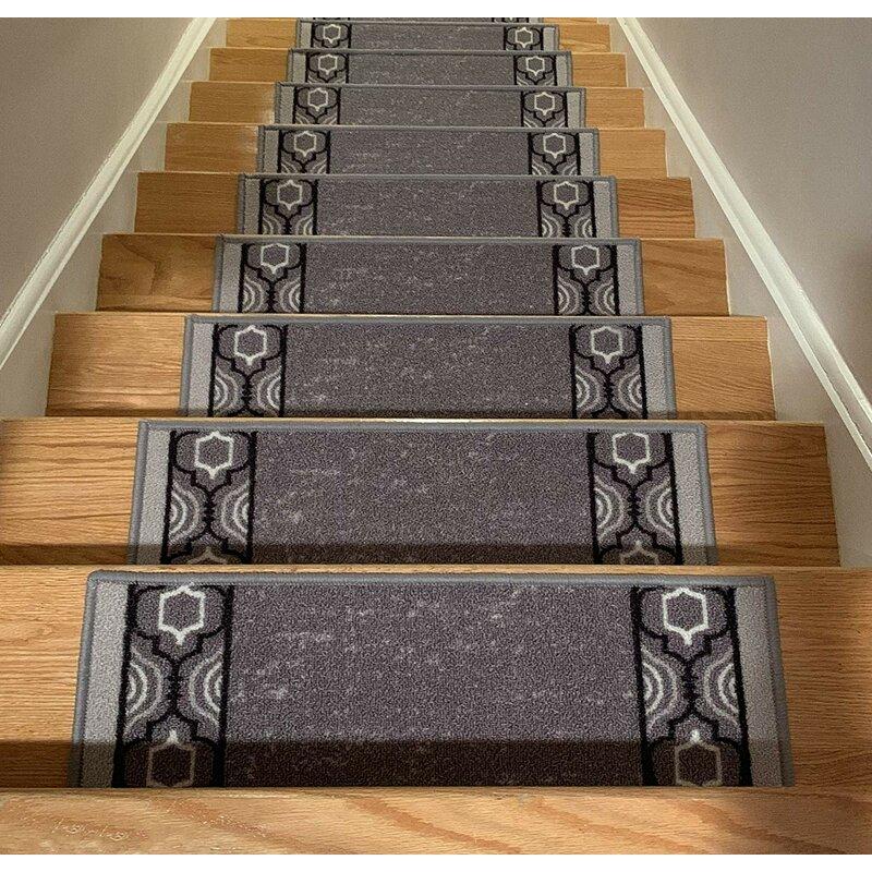 Stair Treads Skid Slip Resistant Backing Indoor Carpet Matching Landing Mat Trellis Border Design 30 inch x 36 inch, Grey Black