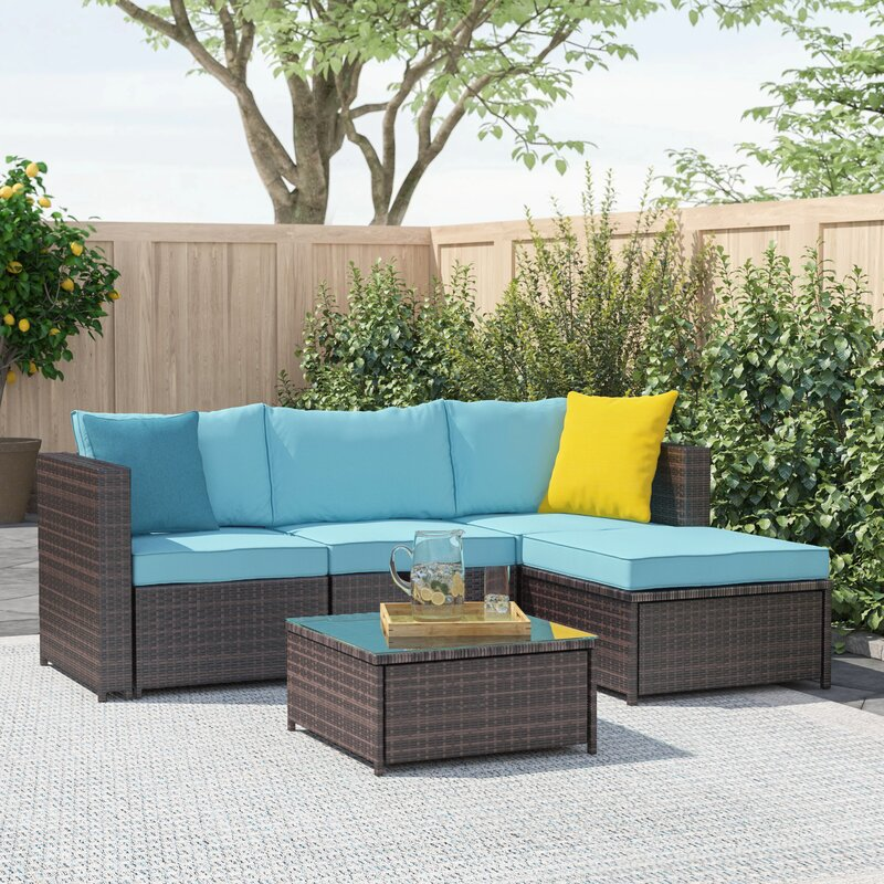Zipcode Design Adal 5 Piece Rattan Sectional Seating Group With Cushions Reviews Wayfair