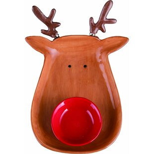 4 Piece Dolomite Reindeer Chip and Dip Set