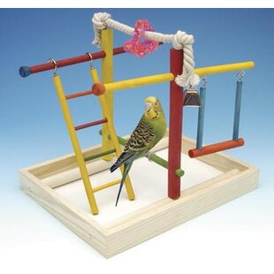 Medium Wooden Playground Bird Activity Center By Penn Plax