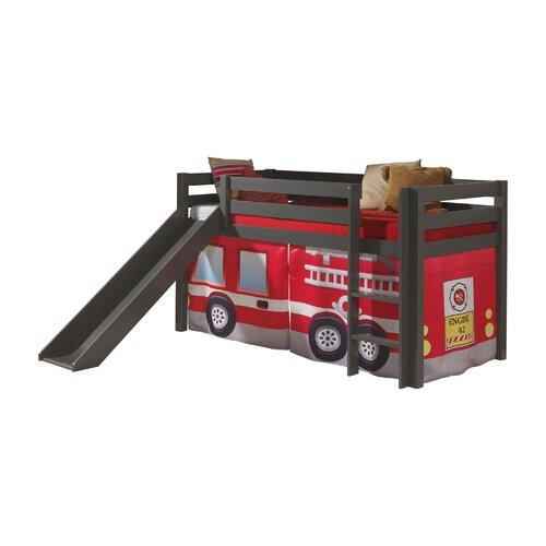 Spielbett Pino mit Rutsche und Textilvorhang  90 x 200 cm | Kinderzimmer > Kinderbetten > Hochbetten | Taupe | Massiver - Polyester - Holz | Vipack