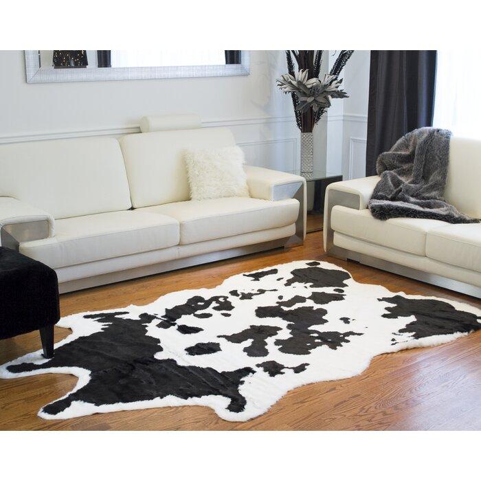 Faux Cowhide Black White Area Rug