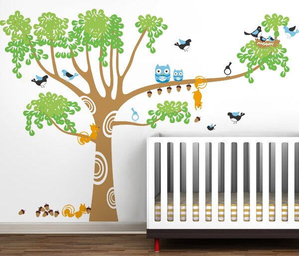 Pop Decors Big Nursery Tree Wall Decal Reviews Wayfair - Kids tree wall decals