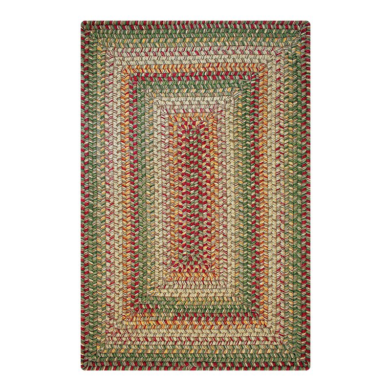 """Moe Wool Braided Hand-Braided Red/Green Indoor/Outdoor Area Rug Rug Size: Rectangle 2'3"""" x 3'0.75"""" -  August Grove"""