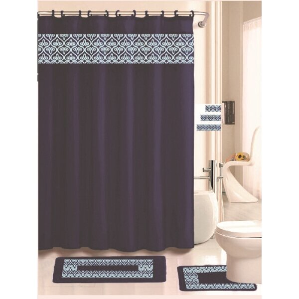 Fleur De Lis Living Beryl 18 Piece Embroidered Shower Curtain Set   Reviews    WayfairFleur De Lis Living Beryl 18 Piece Embroidered Shower Curtain Set  . Maroon Shower Curtain Set. Home Design Ideas