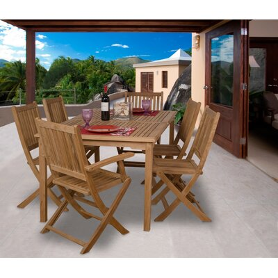 Kenzie International Home Outdoor 7 Piece Teak Dining Set by Rosecliff Heights Coupon