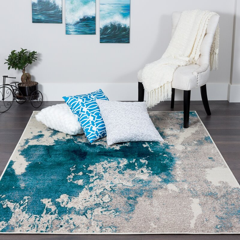 Babb Splash Polypropylene Blue/Grey Area Rug