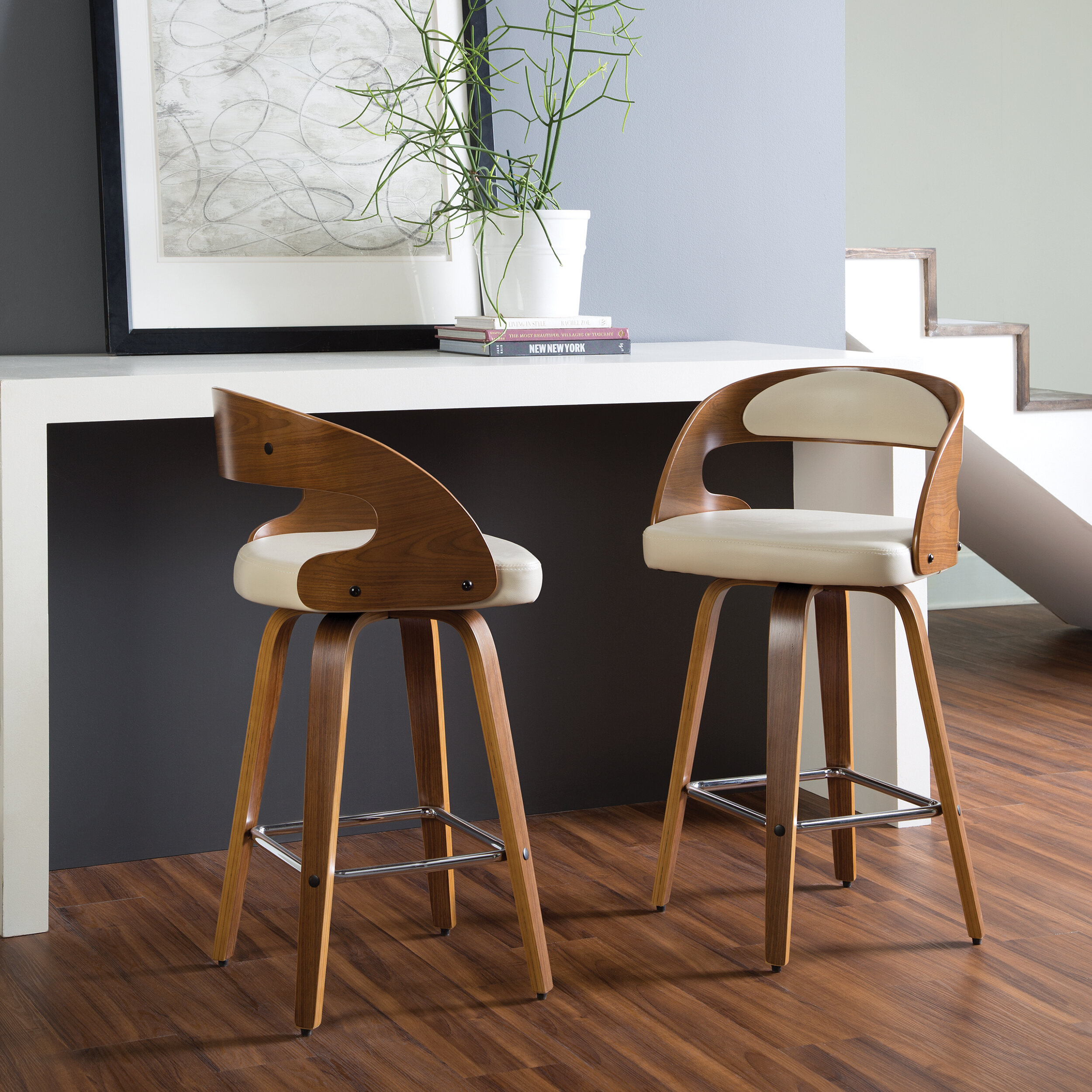Image of: George Oliver Lachapelle Swivel Counter Stool Reviews Wayfair