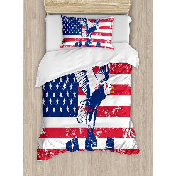 d0d58c7a689 East Urban Home Looking American National Flag with Eagle and USA Artistic  Print Duvet Cover Set