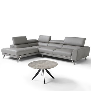 Orren Ellis Chastain Leather Sectional